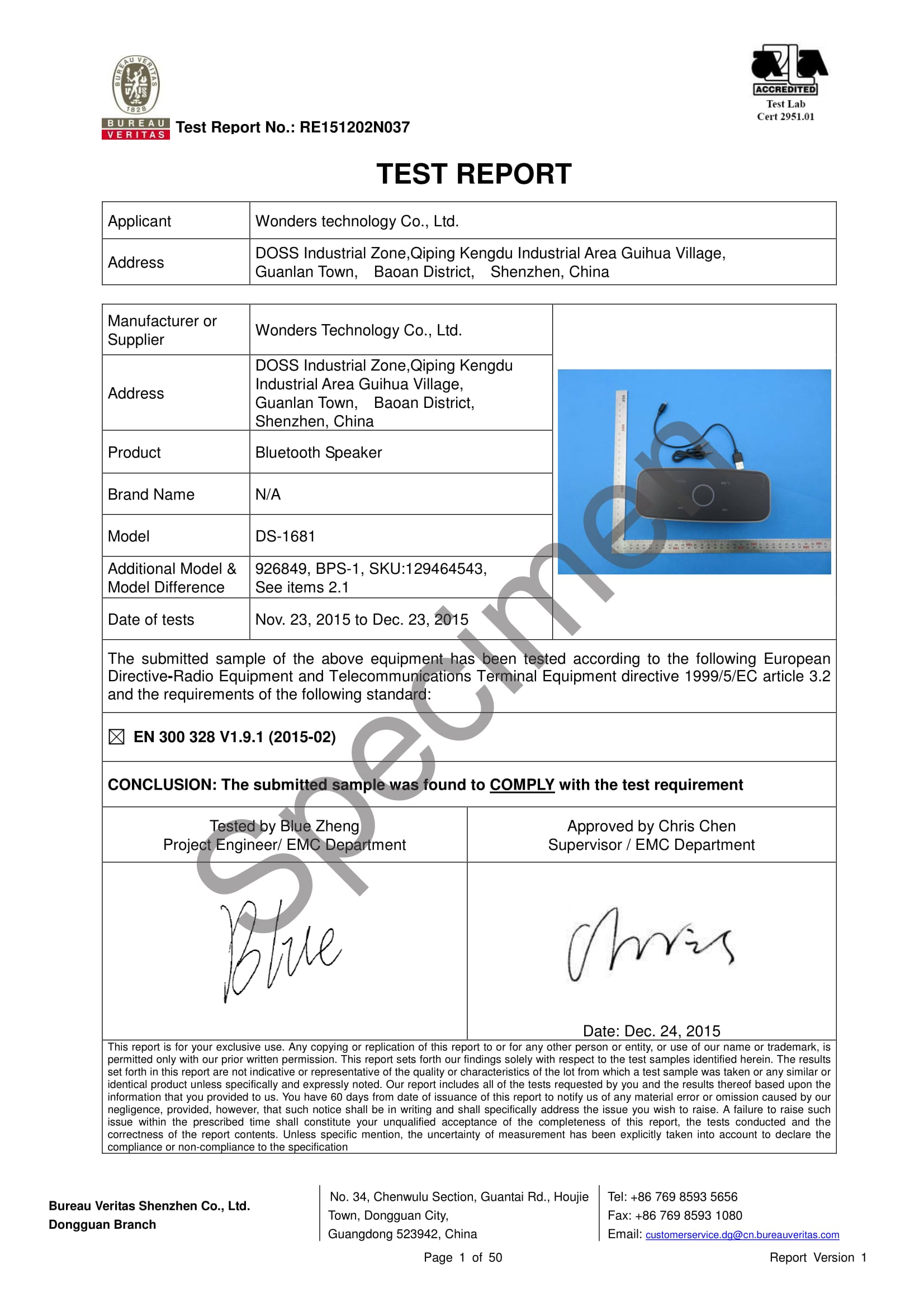 WPC Approval RF Test Report 1